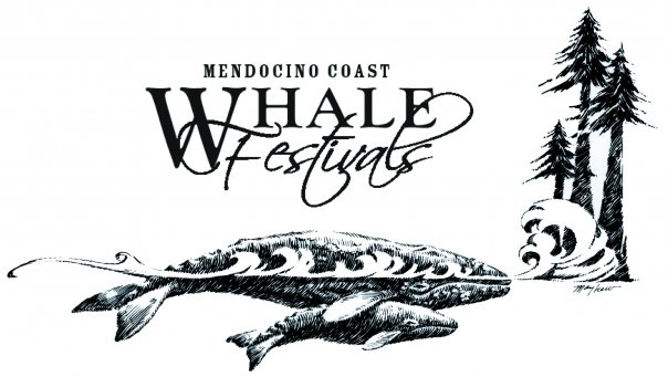 Whale Festival Logo – Mother and baby whale with redwood trees